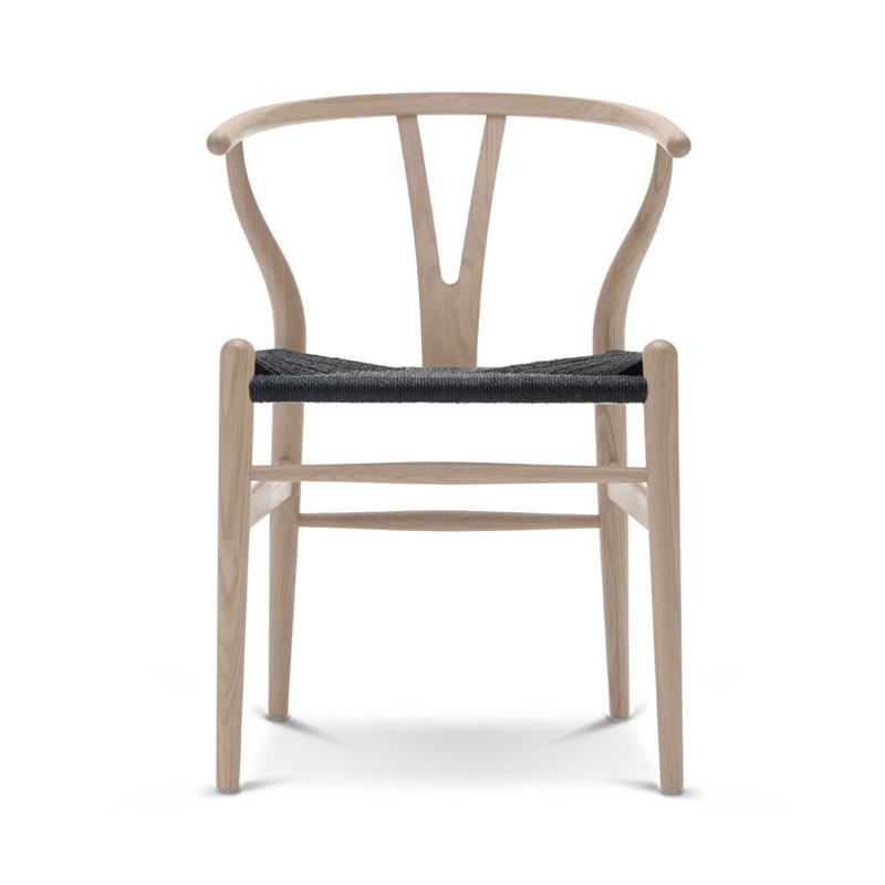 Wishbone Chair soaped oak with black natural papercord seat
