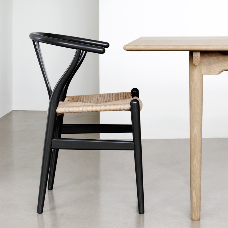 Wishbone chair black oak with natural papercord seat