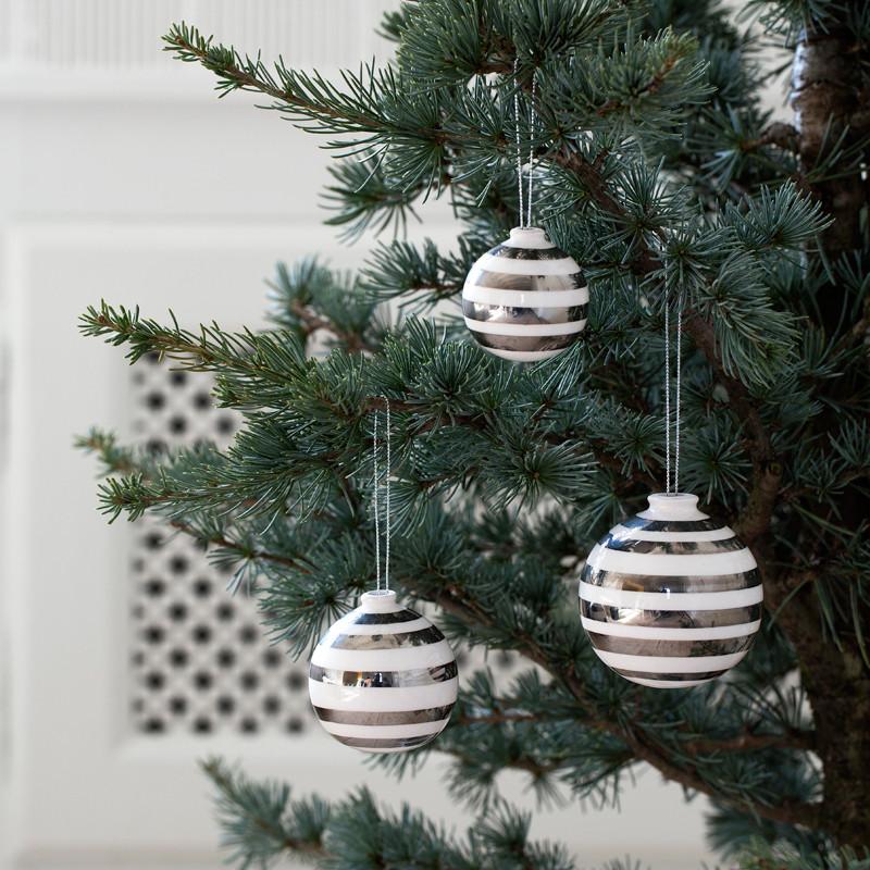 Omaggio Silver Ornaments 3-p silver