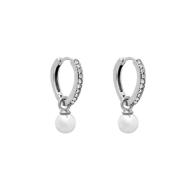 Petite Kennedy Hoops Earrings Ivory Pearl