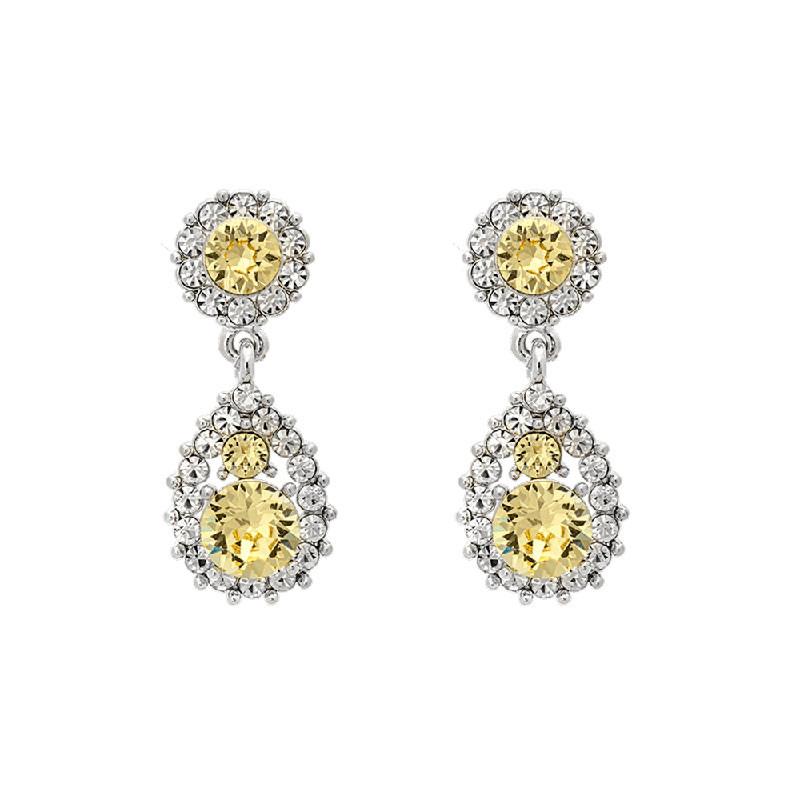 Sofia Crystal Earrings Citrine