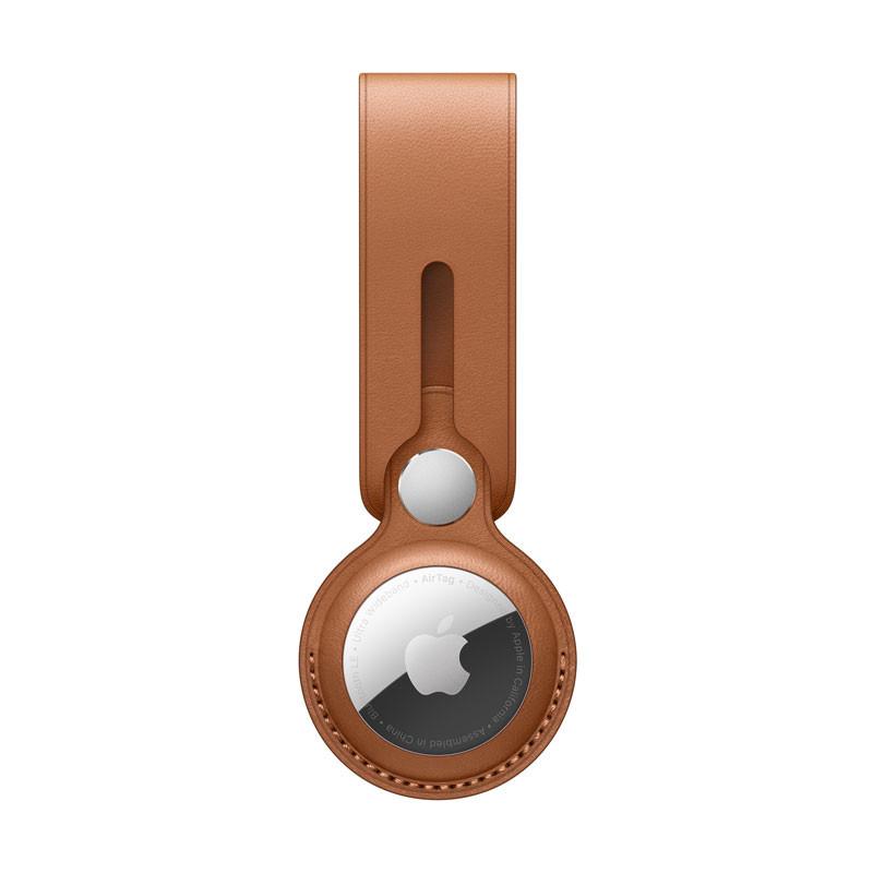 AirTag-loop i läder - Sadelbrun