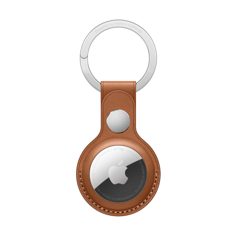 AirTag-nyckelring i läder - Sadelbrun